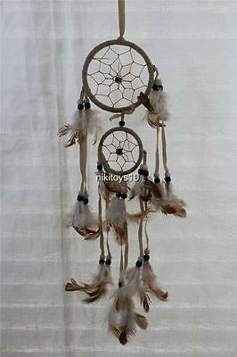 "Dream Catcher with feathers wall hanging decoration ornament-20"" Long-Beiges"