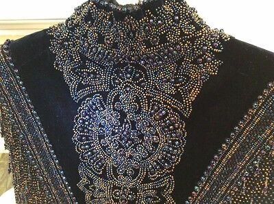 Antique Victorian Vintage Evening Beaded/velvet Cape, Exquisite Hand Beading