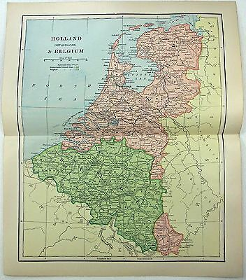 Original 1890 Map of Holland & Belgium by Dodd Mead & Company