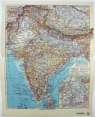 Original 1933 Map of India by Meyers