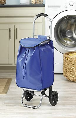 Whitmor Folding Shopping Rolling Bag Day Carry Grocery Wheels Cart Blue