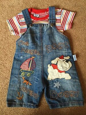 Baby Boys Eslemix Summer Dungaree & T.Shirt Set Outfit Dog Boat Size 6 Months