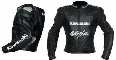 Kawasaki Motorcycle Black Leather Racing Jacket Ce Armor With Hump All Sizes