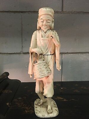 large 19c carved cowbone Oriental  figure