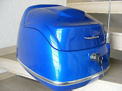 Retro Topcase / Helmbox für Roller + Moped + Mokick -Blau-