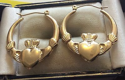 Lovely Ladies Stamped 9ct Gold Large Claddagh Earrings Nice