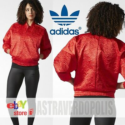 ADIDAS RED FLORAL Bomber Track Jacket for Women $55.50