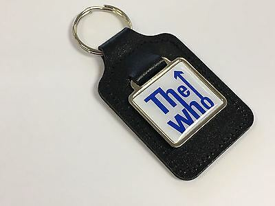 The Who White Background & Blue Writing - Leather Keyring With Domed Sticker