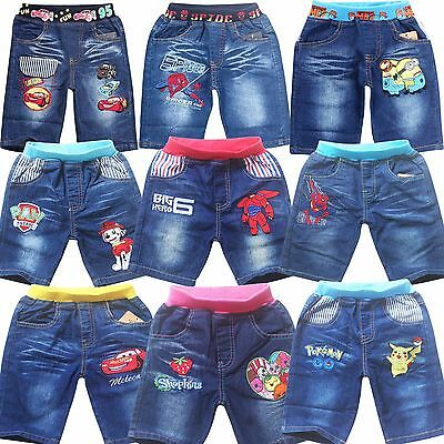 Summer Kids Girls Boys Teens Denim Shorts Everyday Holiday Party Cartoon Pants