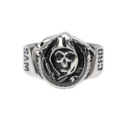 """Sons of Anarchy 2014 SAMCRO """"GRIM REAPER"""" Stainless Steal Ring New in Box"""