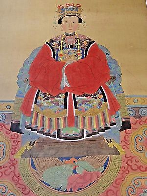 19th C. Qing [Ching] [Ch'ing] D. Chinese Painted Silk Ancestor Portraits-Pair