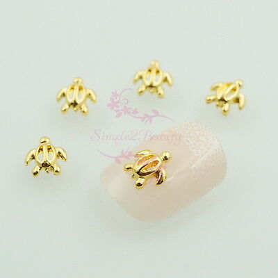 100 Sea Turtle Shape Summer Ocean Style Gold Tone 3D Nail Art Manicure DIY Decor