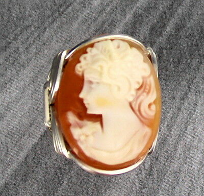 Vintage Antique Shell Carved Cameo Ring Sterling Silver Size 5 - 15 Wire Wrapped