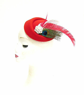 Red Green White Peacock Feather Pillbox Hat Races Fascinator Headpiece Vtg 2283
