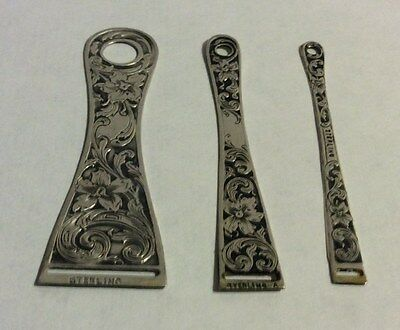 Antique Sterling Silver  Set 3 with Scrolls and Flowers  Bodkins Sewing