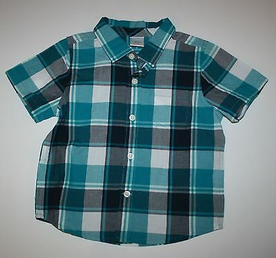 New Gymboree Boys Teal Blue Button Down Shirt NWT Size 6-12 18-24 Birds & Dinos