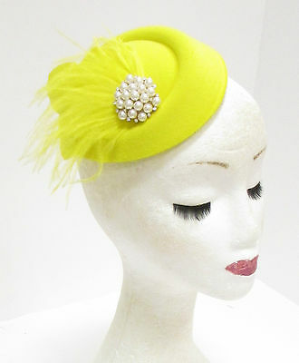 Yellow Ivory Feather Pillbox Hat Fascinator Headpiece Ascot Vintage Races 2280