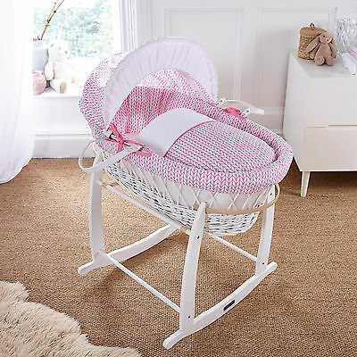 New 4Baby White Wicker / Seedling Pink Padded Baby Moses Basket & Rocking Stand