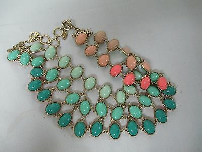 Amrita Singh Reversible Cabochon Bead Statement Necklace Turquoise/Peach