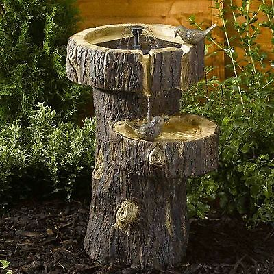 Bird Bath Garden Birdbath Yard Outdoor Smart Solar Fountain Water Tree Trunk