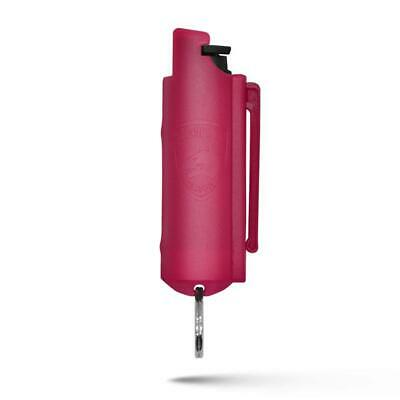 Pink Hard Case Personal Defense Pepper Spray Keychain With Belt Clip