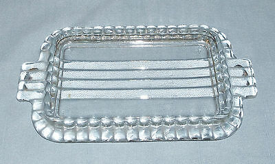Vintage Large Clear Glass Butter Plate Dish Ribbed Ruffled Edge Tab Handles