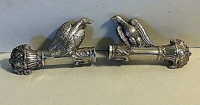 Antique Silver Figural American Eagle Columns Knitting Needle Guards Sewing #370