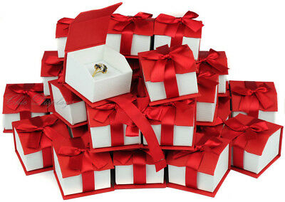 Lot Of (36) Ring Box Magnetic Ribbon Ring Box Showcase Box Red Jewelry Gift Box