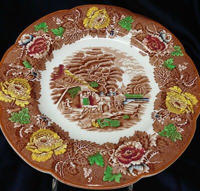 Wood Sons English Scenery 10.75 Dinner Plate Light Brown Multicolored Scalloped