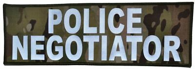 Reflective Police Negotiator - 4x12 Military/Morale/Police Patch Hook Backing