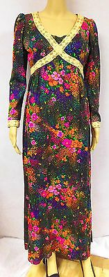 Vintage 70s Maxi Dress Barkcloth Floral Boho Hippie Festival Lace Spring Summer