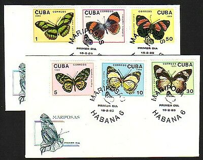 / Caribbean, Scott cat. 3102-3107. Butterflies issue. 2 First Day Covers.