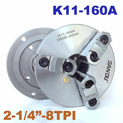 "1pc Lathe Chuck 6"" 3 Jaw Self-centering w/ Back Plate 2-1/4""-8TPI K11-160A"