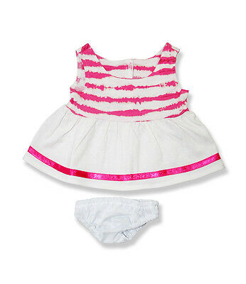 """Pink & White dress & knickers outfit teddy Bear clothes fits 15"""" Build a Bear"""