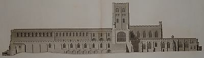 1810 LARGE 40 inches ANTIQUE PRINT St ALBANS CATHEDRAL JAMES BASIRE JOHN CARTER