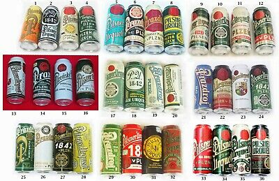 Pilsner Urquell Beer Cans. Limited edition. COMPLETE SET of 36. Empty. USA. 0.5L