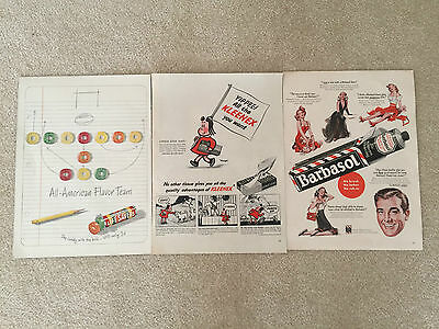 VINTAGE LIFESAVER,  KLEENEX, BARBASOL MAGAZINE ADVERTISING ADS - 3 Different Ads