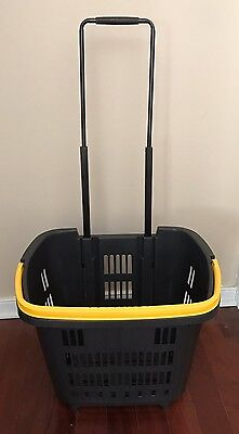 Rolling Basket Shopping Cart With 2 Wheels By Araven NEW