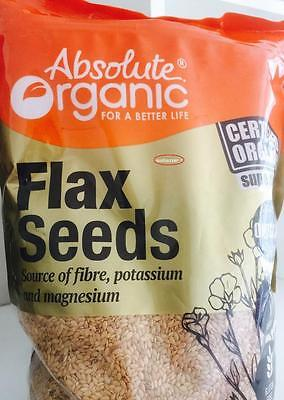 Absolute Organic  Certified Flax seeds 1.5 kg* free post*