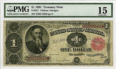 1891 Fr.351 $1 United States Treasury / Coin Note - PMG Graded Fine 15