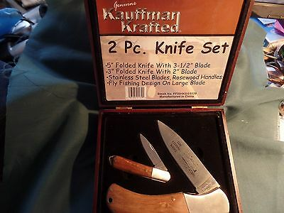 New In Wood Box Genuine Kauffman Krafted 2 Piece Knife Set 5'' & 3'' Blades