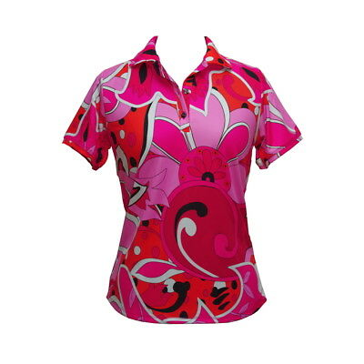 BNWT, Women's Short Sleeve Golf Shirt in Pink Exotic Print, FREE SHIPPING!