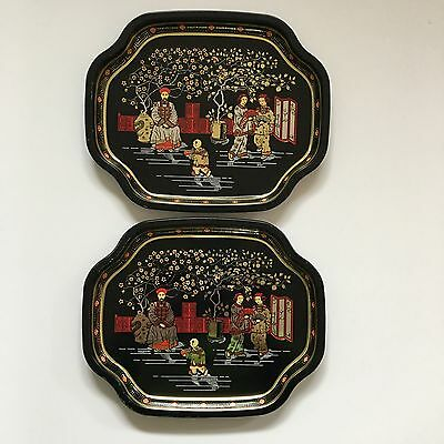 ELITE METAL TRAYS Asian Scene Made in England 7x6 Set of 2 Black Gold Red Tip