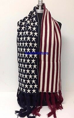 New Fashion Soft Thick KNITTED AMERICAN FLAG DESIGN Long Scarf Wrap Unisex Warm