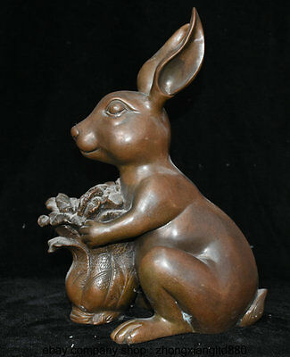 "14"" Rare Old Chinese Purple Bronze Fengshui 12 Zodiac Rabbit Cabbage Luck Statue"
