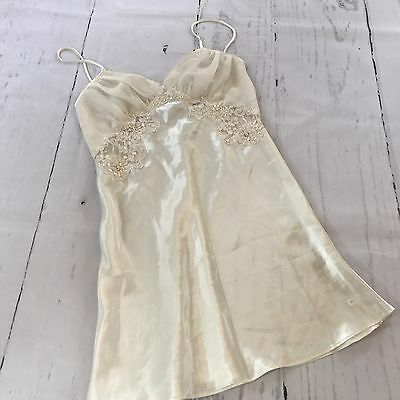 Victoria's Secret Vintage Lingerie Satin White Nighty Lace Sequin Small B36