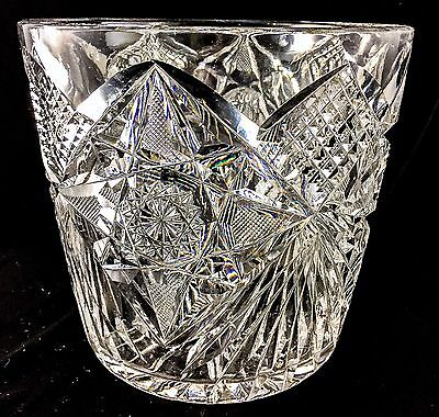 Libbey SIGNED Antique Glass CRYSTAL AMERICAN BRILLIANT ABP ICE TUB BUCKET Pot