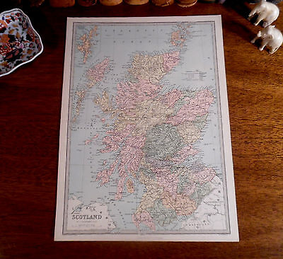 LARGE Original 1873 Antique Ellwood Zell Map SCOTLAND Edinburgh Glasgow Perth