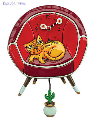 Adorable COOL CAT in Chair Designer Wall Clock by Allen Designs