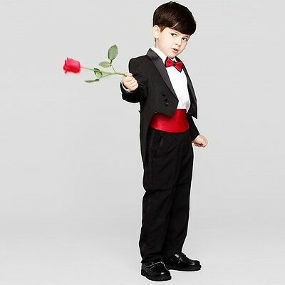 Black Kid's Formal Wedding Groom Tuxedos Boys Children Party Prom Tailcoats Suit